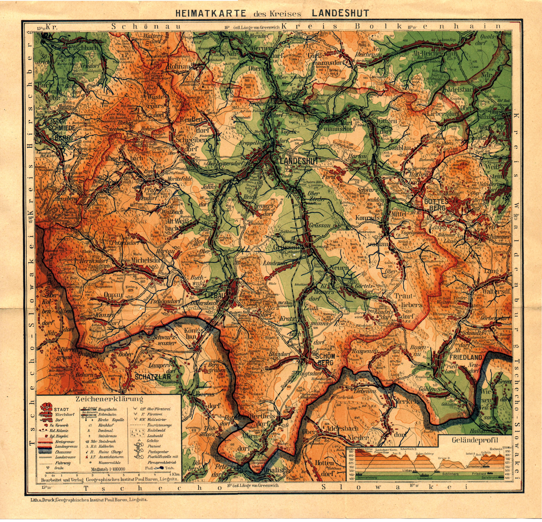 Landkarte Schlesien Sudetenland Historisch Wappen Heraldik
